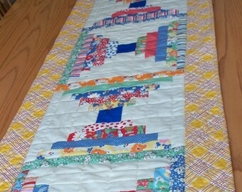 17 x 63 Extra Long Depression Era Quilted Table Runner