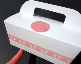 12- Gable CAKE BOXES Baby GIRL Foot Print Princess Bubble Gum Pink Food To Go w/ Handle 1st Birthday, Christening, Personalized Baby Shower