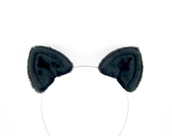 Black Cat Ears Hair Clips Fluffy Plush Costume Ears
