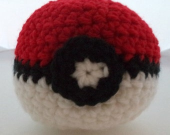 Crocheted Monster Catching Ball - Red (medium)
