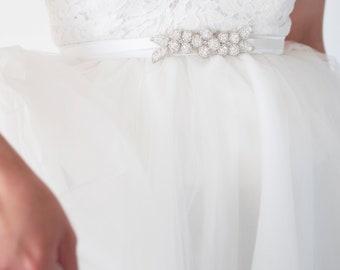 JESSAMINE Beaded Floral Bridal Belt, Wedding Sash Tie, Beaded Belt (#504)
