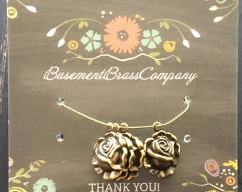 Antique brass rose charm 4