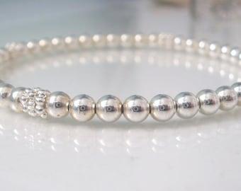 Sterling Silver Ball Bead Bracelet for Women, Daisy Beaded Stretch Bracelet, Minimal bracelet, Gift for her, Anniversary gift, handmade.