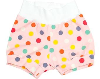 Short en bonbon à pois | Short à pois pour enfants | Multicolores en pointillés Shorts | Short enfant | Teegy Togs