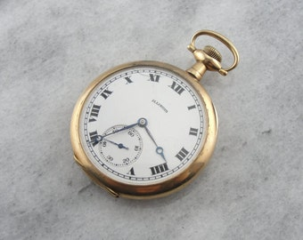 14 Karat Solid Gold Antique Pocket Watch,  Illinois Pocket Watch 3062 ZXF1D1
