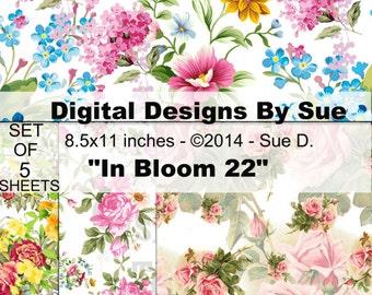 In Bloom 22 Paper Pack  - Printable Digital Collage Sheets - Digital Download - INSTANT DOWNLOAD