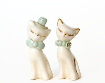 Mint and ivory cat cake topper - ceramic wedding decor - cat figurine with 24K gold details