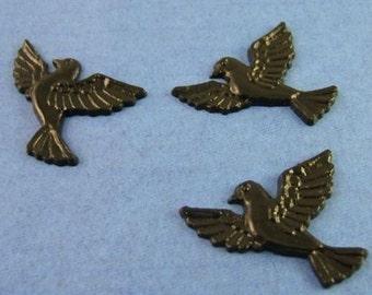 3 Vintage Celluloid Plastic Blackbird - Crow - Raven Cabochons
