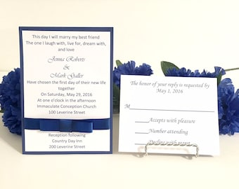 Royal Blue & White Wedding Invitation Set For Wedding/Birthdays/Holidays - Response Cards and Envelopes Included