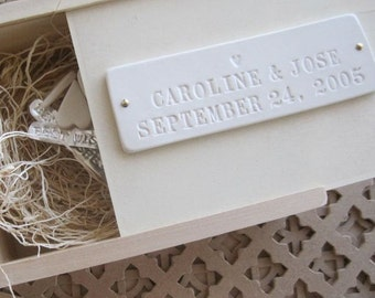 Wedding or Baby Keepsake Box with Personalized Tile by Paloma's Nest