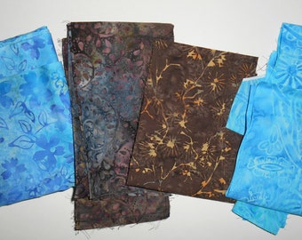 Beautiful Blue & Brown Batik Remnants