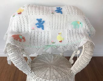 """Vintage Handmade Baby Blanket with animals, vibtage animal knit baby blanket, baby boy baby girl baby banket, 35""""x42"""", FREE SHIPPING"""