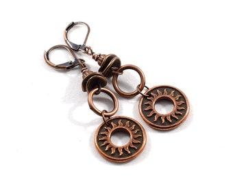 Copper Sunburst Earrings, Copper Earrings, Everyday Earrings, Long Earrings, Antique Copper Earrings, Sunburst Earrings, Metal Earrings,E039