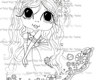 INSTANT DOWNLOAD Digital Digi Stamps Big Eyed My Bestie Digi Stamp Besties Big Head Dolls Gill Heart Dress By Sherri Baldy