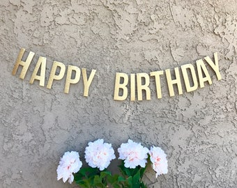 HAPPY BIRTHDAY Banner 2 Sizes ~ Silver or Gold Glitter Happy Birthday Garland Party Decoration