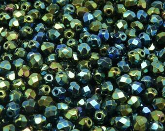 100pcs 5mm Czech Fire-Polished Glass Beads Faceted, Rounds, Jet Green Iris (5FP011)