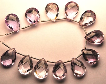 Just New Arrival,2 Matched pairs, AAA Quality Pink Amethyst Faceted Pear Shape Briolettes,12x16mm Long,Great Quality