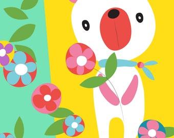 Bear wall art print - Just for you - Bear illustration, Nursery Art,Children Decor, nursery wall art, playroom decor, bear nursery art print