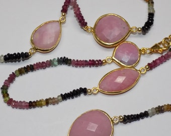 "Pink Opal with Tourmaline & Pearl Necklace 42"" Long in .925 Sterling Silver"
