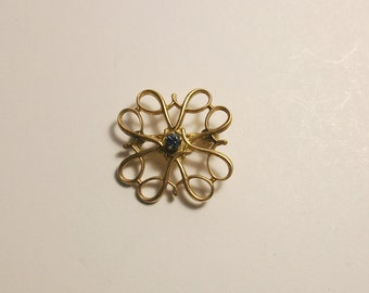 Antique Victorian 10K solid Gold, Blue Sapphire Pin Brooch