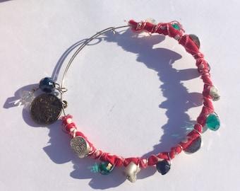 Boho**Gypsy**Beaded Red Fabric Adjustable Wire Bangle Bracelet