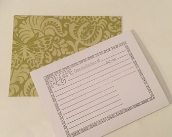 Green Butterfly Recipe Cards