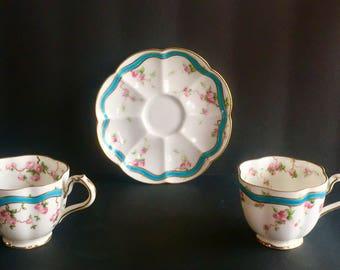 George Jones & Sons (Crescent China England) - Vintage Teacups and Saucer 1891-1921