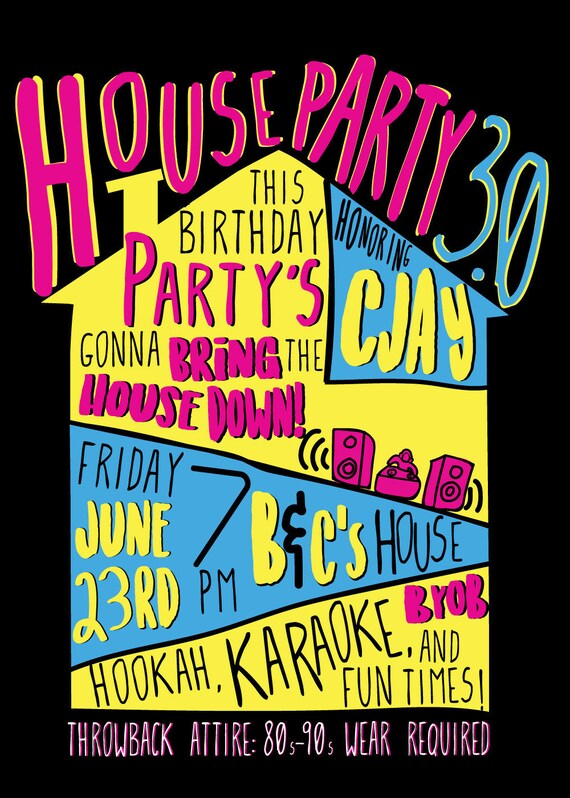 House Party Ultimate 90s Party House Party Invitation Digital