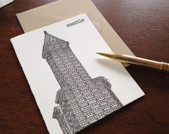 Smith Tower - Letterpress Seattle City Landmark Cards