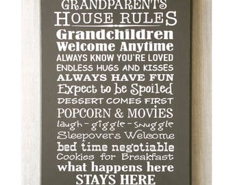 Grandparents Sign / Grandparents Gift / House Rules Sign / Grandparents House / Grandkids Sign / Grandchildren Sign / Gift for Grandparents