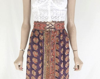 Vintage 70s India Cotton Sheer High Waist Skirt. Size  X Small