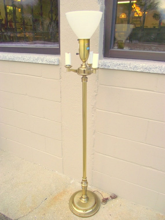 Stiffel Brass Hollywood Regency Torchiere Floor Lamp 4 Way