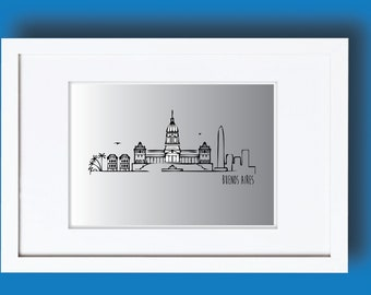 Printable Buenos Aires skyline, Buenos Aires print, Buenos Aires wall art, Vector design,Buenos Aires vector, Graphic print, Buenos Aires