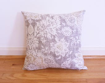 "Neutral Damask Decorative Throw Pillow Cover. Grey, beige, and cream. 16"" x 16"" shams fit 18"" pillow."