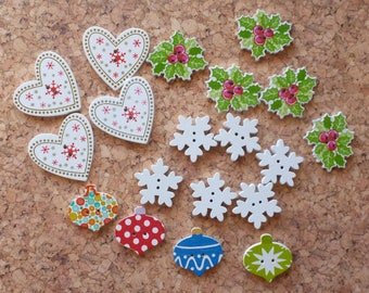 Wooden Christmas Button Selection 3 FREE SHIPPING
