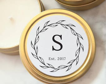 Wedding Favors, Gold Tin Custom Personalized Candles, Candle Wedding Favors, Mini Soy Candles, Shower Favors, Party Favors