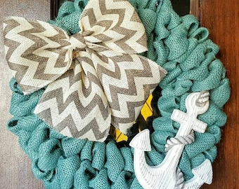 Summer Wreath, Anchor Wreath, Sailing, Beach Wreath, Nautical, Nautical Wreath, Beach Decor, Ocean, Anchors, Chevron