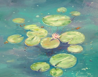 Water lilies painting, Oil painting, Pond with water lilies, Floweres, Artwork, Emerald, Art wall Deco, Canvas Oil, Nature, Landscape, Gift