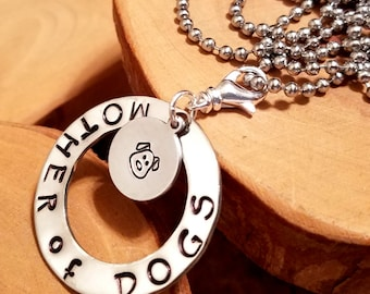 Mother of Dogs hand stamped layered aluminum washer and disc pendant necklace perfect for doggy moms