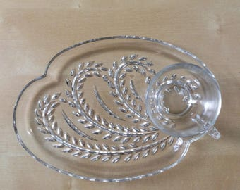 Vintage Federal Glass Hospitality Snack Set