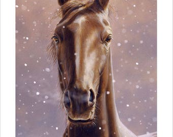 Horse Portrait by award winning artist John SILVER. Personally signed A4 or A3 size Print. HO003SP