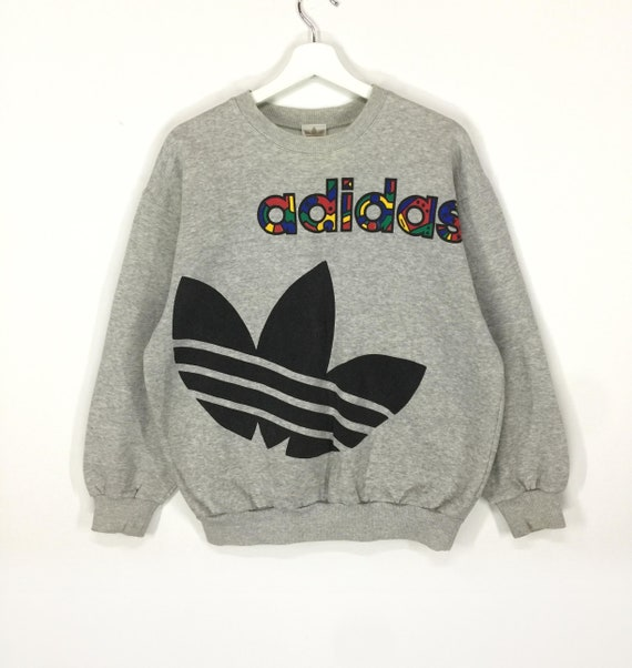 Rare!!Adidas multicolor spellout big logo vintage 90s sweatshirt/hip hop swag fashion/retro clothing
