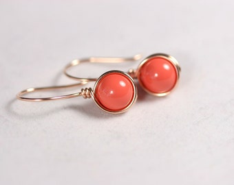 Rose Gold Coral Earrings Wire Wrapped Jewelry Handmade Rose Gold Earrings Rose Gold Jewelry Pink Gold Earrings Orange Earrings Coral Jewelry