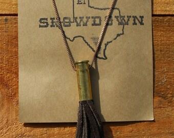 Mocha Brown Handcut Leather Tassel Spent Bullet Casing Necklace