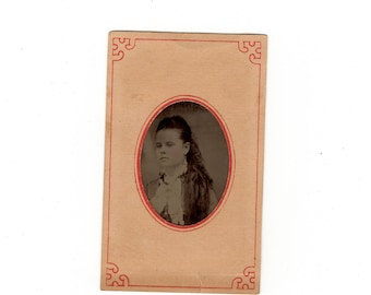 antique tintype photo, woman with long hair