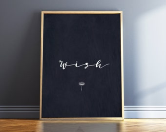 Inspirational Quote Prints Wall Art Quotes Wall Prints Minimalist Poster Insperational Prints Wall Art Prints Navy Blue Wall Art Wish