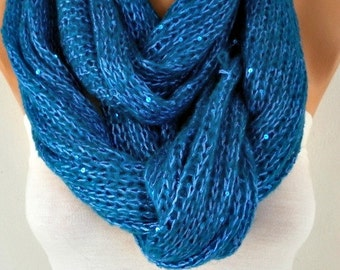 Teal Knitted Scarf Teacher Gift Winter Accessories Sequin Shawl Scarf Cowl Scarf Gift For Her Women Fashion Accessories Valentine's Gift