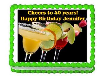 Margarita birthday party decoration edible cake image cake topper frosting sheet