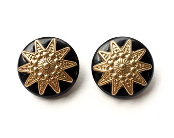 1930's Inspired Clip On Cocktail Earrings In Black & Gold. FAST Shipping WITH Tracking for US Buyers.Will Arrive in nice gift box w/ Ribbon.