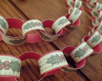 DIY Printable Christmas Paper Chain Garland – Watercolor Holly – Deck the Halls – Instant Download with Instructions – PDF